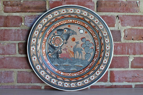 Tonala Pottery (Mexico) Hand-Painted Large Decorative Plate