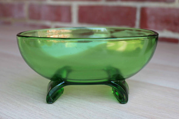 Green Pressed Glass Bowl with Curved Footed Base