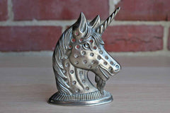 Silver Tone Metal Unicorn Pierced Earrings Holder