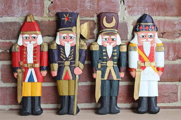 Germany (Wittlich) Four Hand-Carved Wooden Soliders in Full Regalia