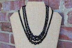 Black Graduated Faceted Glass Bead Triple Strand Necklace, Made by Laguna