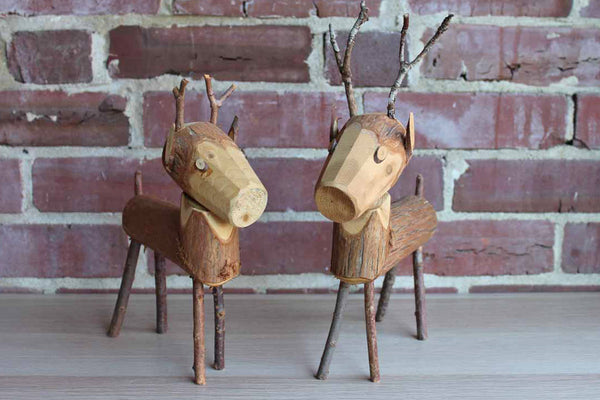 Primitive Carved Wood Deer Figurines, A Pair