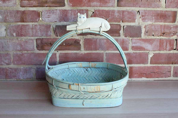 Hand Woven Blue Painted Basket with Decoratively Carved Cat