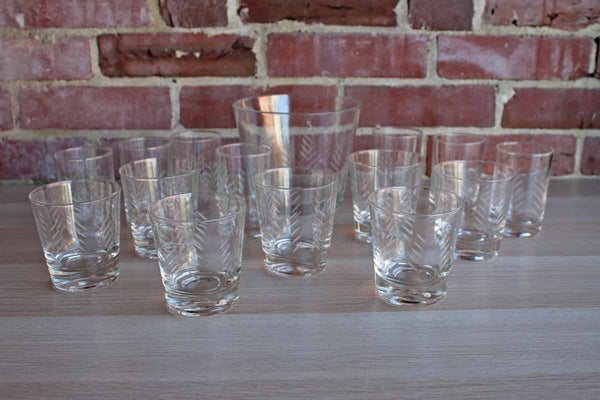Set of Clear Etched Glass Coctail Glasses and Matching Ice Bucket