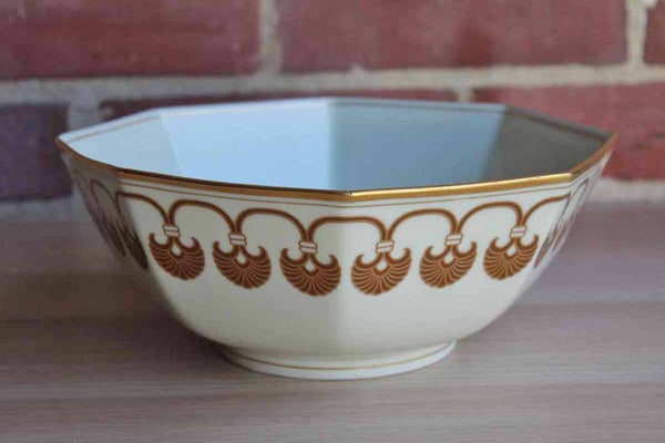 Fitz & Floyd (USA) Alexandria Pattern Shells and Gold Trim Octagonal Vegetable Serving Bowl