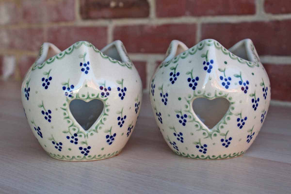 Boleslawiec Pottery (Poland) Hand-Decorated Ceramic Candle Holders with Grape Decorations, A Pair