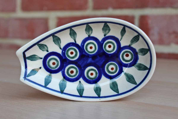 Boleslawiec Pottery (Poland) Peacock Leaves Ceramic Spoon Rest