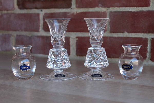 Lenox (USA) Hand-Blown Lead Crystal Candlesticks and Bud Vases, 4 Pieces