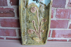 Nature-Inspired Handmade Ceramic Tray with Flying Bug and Fiddlehead Ferns