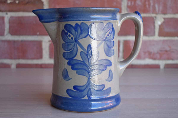 Beaumont Brothers Pottery (Ohio, USA) 1995 Salt Glazed Pitcher with Blue Flowers