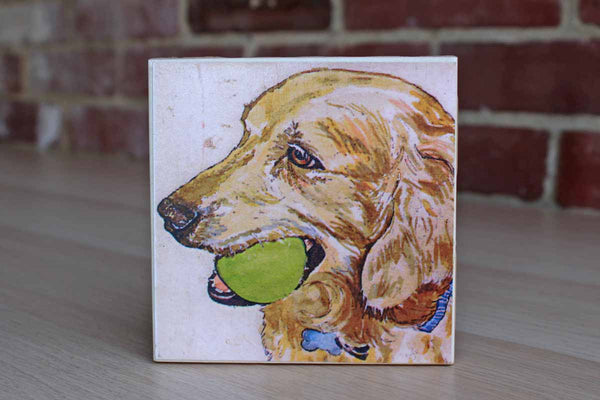 Ceramic Drink Coaster with Golden Retriever Holding a Tennis Ball