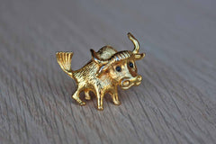 Gold Metal Bull Brooch with Black Bead Eyes