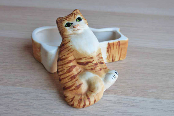 Carol Halmy Porcelain Tabby Cat Shaped Trinket Box