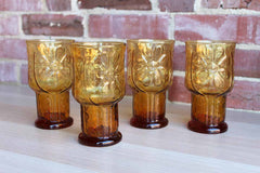 Libbey Glass (Ohio, USA) Country Garden Amber Glass Water and Cooler Glasses, 8 Pieces