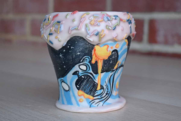 Handmade Ceramic Cup Shaped Like an Intergalactic Ice Cream Cone