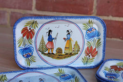 Massilly (France) HB Henriot Quimper Tin Plates, Set of 8