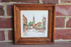 Hand Painted Wood Framed Tile of St. Philip's Church on Church Street in Charleston South Carolina
