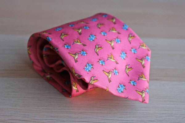 Brooks Brothers (New York, USA) 100% Silk Necktie Decorated with Flowers and Hummingbirds
