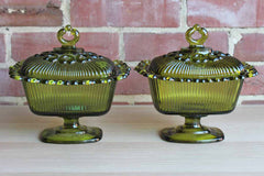 Indiana Glass Company (Indiana, USA) Olive Green Lace Edge Lidded Candy Bowls, A Pair