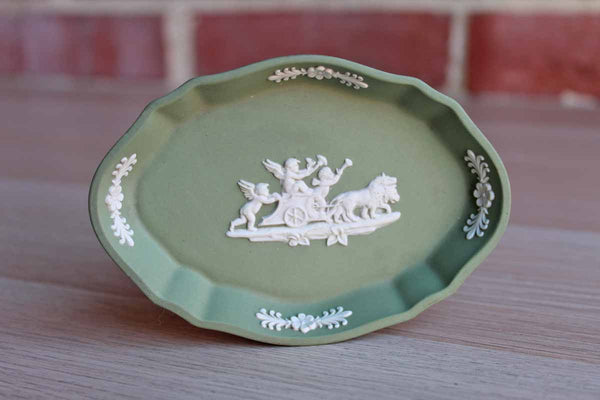 Wedgwood (England) Cream Color on Celadon Silver Tray with Cupids Pulled by Lions