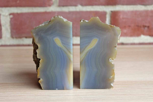 Purple and Tan Agate Bookends, A Pair