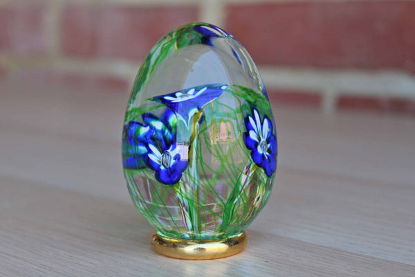 Blown-Glass Egg with Blue Flowers, Made in Italy