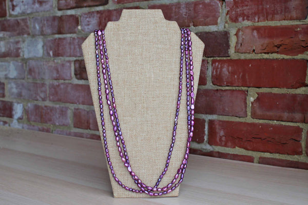Iridecent Triple Strand Purple Pearl Beads Necklace