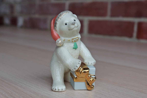 Lenox (China) Porcelain Christmas Bear Cub with Pink Hat and Gold Accents