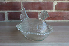 Indiana Glass Company (Indiana, USA) Clear Glass Hen on Nest with Beaded Rim