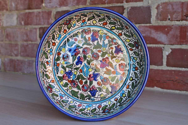 Hand-Painted Ceramic Bowl with Dense Floral Design