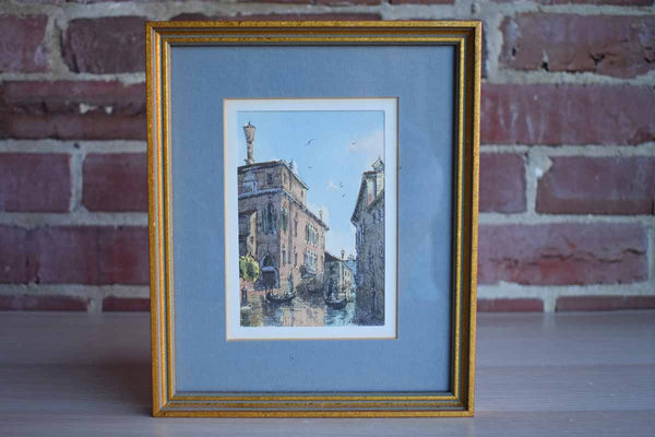 Little Framed Watercolor Print of a Canal and Palazzos in Venice