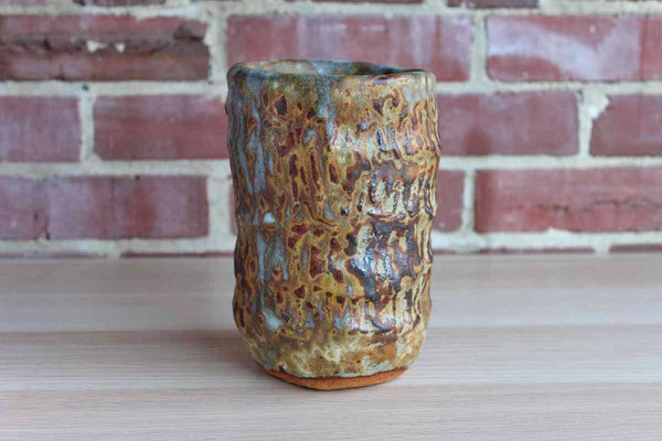 Heavy Primitive Handmade Earthenware Vase or Storage Container with Brown and Bluish-Gray Glaze