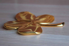 Brass Irish Four Leaf Clover Paperweight
