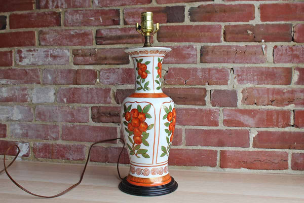 Porcelain Baluster-Shaped Lamp Decorated with Oranges Accented in Gold