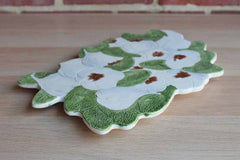 Ceramic Trivet Decorated with Green and White Gardenias