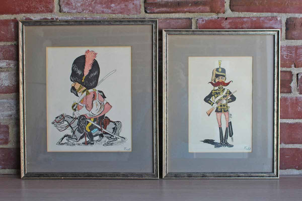 Custom Framed Caricature Prints of British Royal Soldiers by Fladd