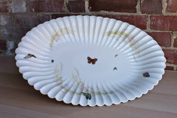 Haviland & Co. (Limoges, France) Large Serving Platter Decorated with Flowers and Butterflies