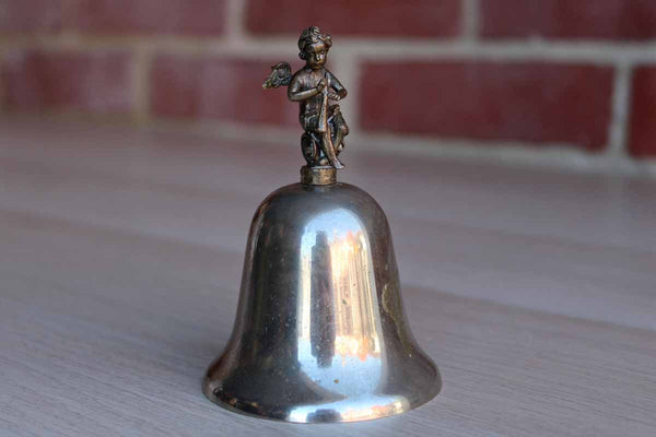 Silver Plated Brass Bell Topped with Angel and Horn Finial