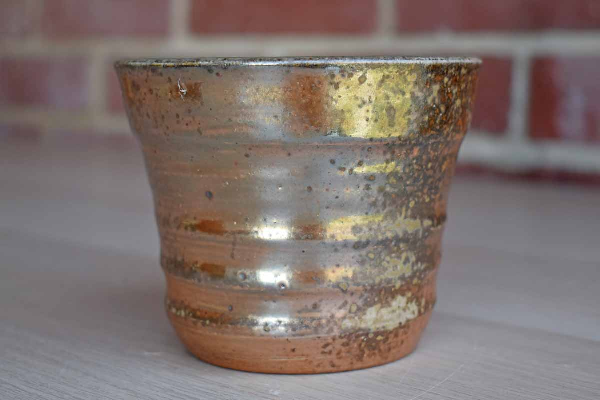 Pottery Cup with Shimmering Goldish-Pink Luminescent Glaze