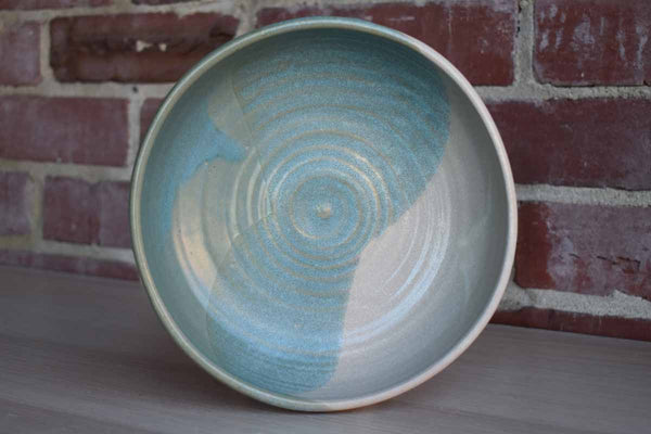 Round Pottery Bowl with Blue, White and Gray Glazes