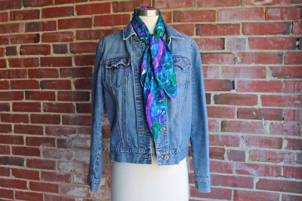 Silk Blend Green, Blue, and Purple Floral Scarf