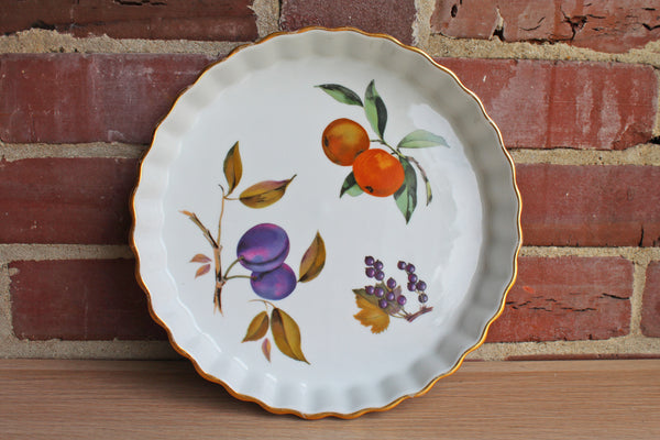 Royal Worcester (England) Evesham Gold Rimmed Quiche or Tart Dish