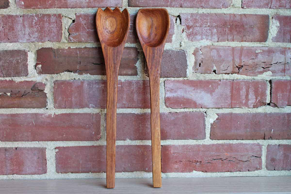 Teak Wood Salad Fork and Spoon Set
