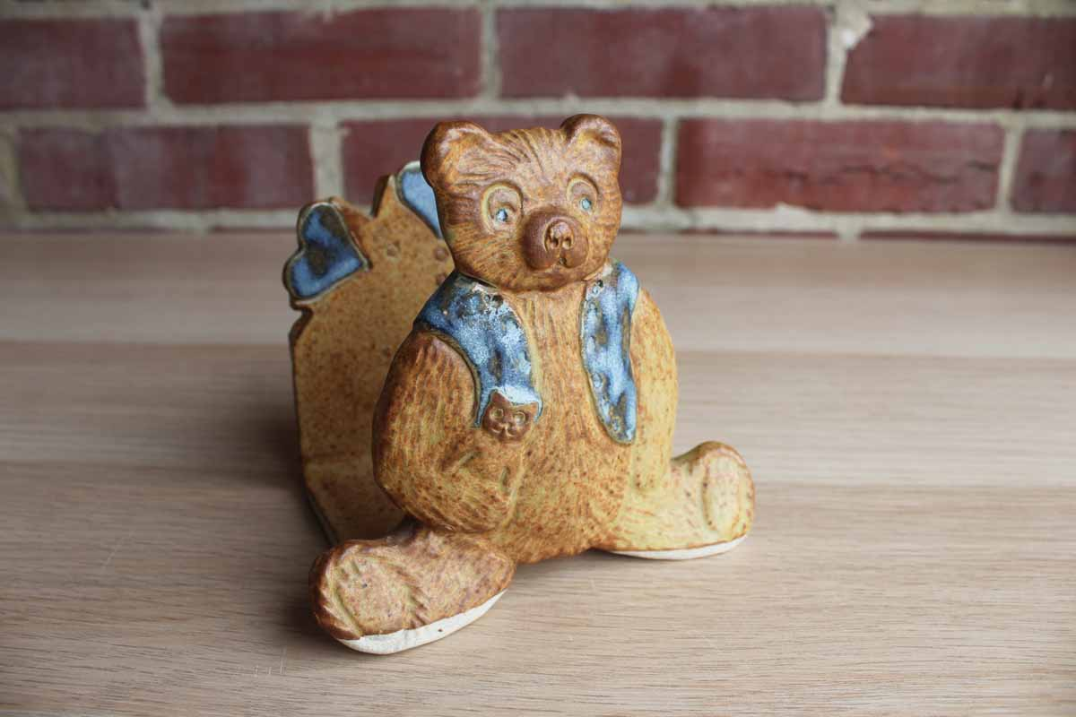 Art Pottery Teddy Bear Organizer Made in Bisbee, Arizona