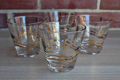 Fred Press Old Fashioned Glasses with Gold Swimming Fish and Waves, Set of 4