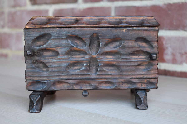 Handmade Primitive Wooden Lidded Box with Flower Petal Designs