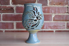 Blue Ceramic Chalice-Shaped Votive with Incised Bird Designs