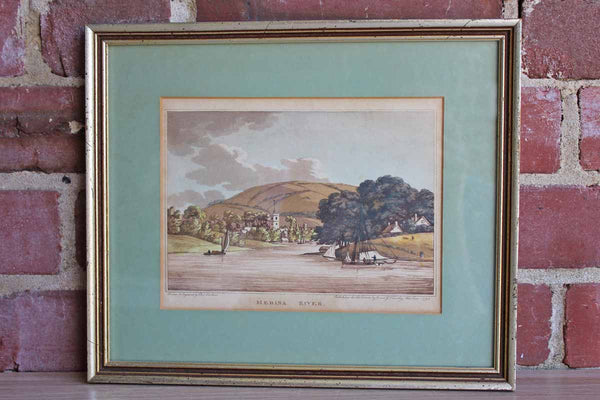 Framed Copper Plate Engraving of the Medina River by Charles Tomkins (1750-1810)