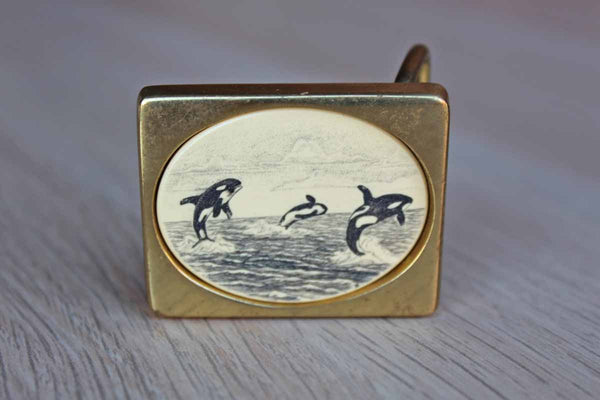 Barlow Designs, Inc. (Rhode Island, USA) Solid Brass Scrimshaw Belt Buckle (No Belt) with Three Breaching Whales