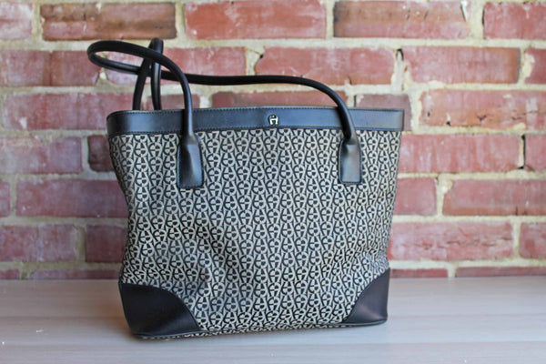 Etienne Aigner (New York, USA) Black and Gray Leather and Fabric Tote Bag